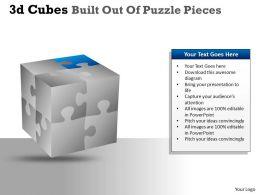 3D Cubes Built Out Of Puzzle Pieces PPT 134