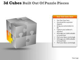 3D Cubes Built Out Of Puzzle Pieces PPT 136