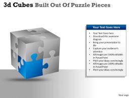 3D Cubes Built Out Of Puzzle Pieces PPT 137