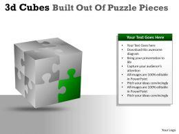 3D Cubes Built Out Of Puzzle Pieces PPT 138