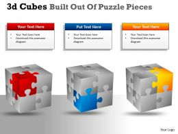 3D Cubes Built Out Of Puzzle Pieces PPT 139