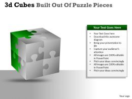 3D Cubes Built Out Of Puzzle Pieces PPT 140