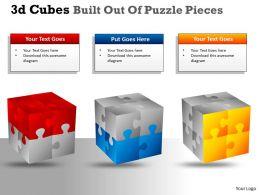 3D Cubes Built Out Of Puzzle Pieces PPT 141