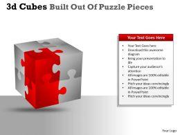 3D Cubes Built Out Of Puzzle Pieces PPT 15