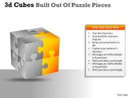 3D Cubes Built Out Of Puzzle Pieces PPT 16