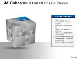 3D Cubes Built Out Of Puzzle Pieces PPT 17