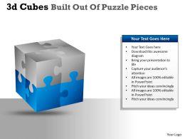 3D Cubes Built Out Of Puzzle Pieces PPT 20
