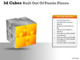 3D Cubes Built Out Of Puzzle Pieces PPT 21