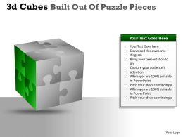 3D Cubes Built Out Of Puzzle Pieces PPT 22