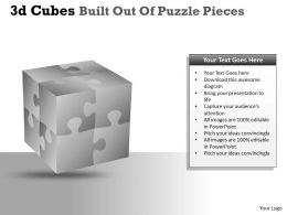 3D Cubes Built Out Of Puzzle Pieces PPT 25