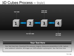 3D Cubes Process 1 Powerpoint Presentation Slides DB