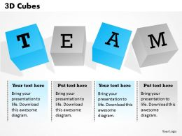 3D Cubes Team Powerpoint Template Slide
