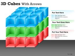 3D Cubes With Arrows Powerpoint Presentation Slides