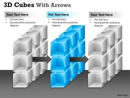 3D Cubes With Arrows PPT 163