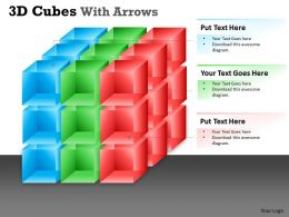 3D Cubes With Arrows PPT 4 design 10