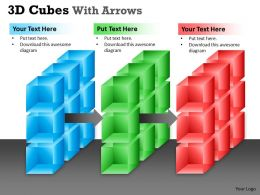 3D Cubes With Arrows PPT colorful 11