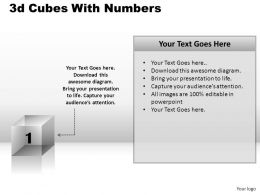 3D Cubes With Numbers Powerpoint Presentation Slides