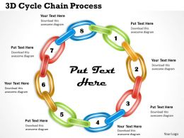 3D Cycle Chain Process Powerpoint Template Slide