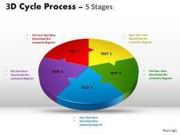 3D Cycle diagram Process Flow Chart 5 Stages powerpoint Style 4
