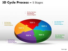 3D Cycle diagram Process Flow Chart 5 Stages Style 3