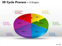 3D Cycle Process circular templates Flow Chart 6 Stages Style 4