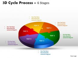 3D Cycle Process colorful diagram Flow Chart 6 Stages Style 3