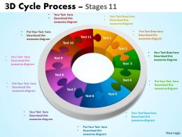 3D Cycle Process diagrams Flowchart Stages 11 Style 5