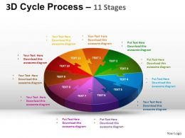 3D Cycle Process Flow Chart 11 Stages Style 1 ppt Templates 0412