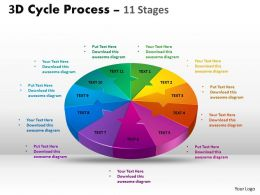 3D Cycle Process Flow Chart 11 Stages Style 2