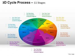 3D Cycle Process Flow Chart 11 Stages Style 2 ppt Templates 0412