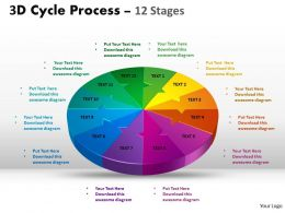 3D Cycle Process Flow Chart 12 diagram Stages Style 4