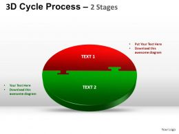 3D Cycle Process Flow Chart 2 Stages Style 1 ppt Templates 0412