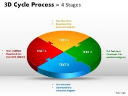 3D Cycle Process Flow Chart 4 Stages Style 1