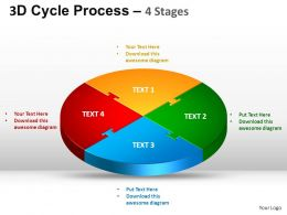 3D Cycle Process Flow Chart 4 Stages Style 1 ppt Templates 0412