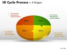 3D Cycle Process Flow Chart 4 Stages Style diagram flow 5