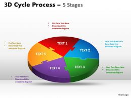 3D Cycle Process Flow Chart 5 Stages Style 1