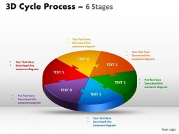 3D Cycle Process Flow Chart 6 Stages Style 1