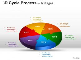 3D Cycle Process Flow Chart 6 Stages Style 1 ppt Templates 0412