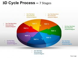 3D Cycle Process Flow Chart 7 Stages Style 1 ppt Templates 0412