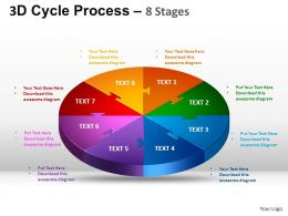 3D Cycle Process Flow Chart 8 Stages Style 1 ppt Templates 0412
