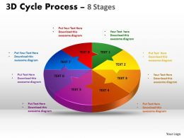 3D Cycle Process Flow Chart 8 Stages Style 2 8
