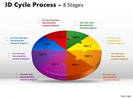3D Cycle Process Flow Chart 8 Stages Style 4