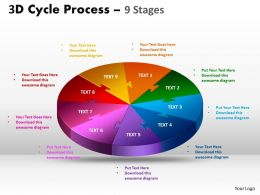 3D Cycle Process Flow Chart 9 Stages Style 1