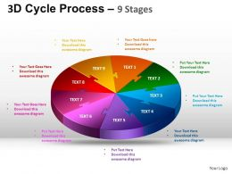 3D Cycle Process Flow Chart 9 Stages Style 1 ppt Templates 0412