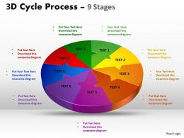 3D Cycle Process Flow Chart 9 Stages Style 2