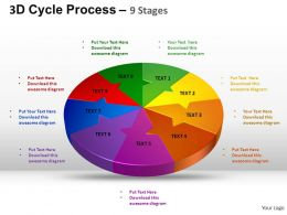 3D Cycle Process Flow Chart 9 Stages Style 2 ppt Templates 0412
