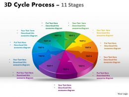 3D Cycle Process Flow diagram Chart 11 Stages Style 4