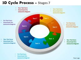 3D Cycle Process Flowchart diagram Stages 7 Style 5