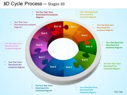 3D Cycle Process Flowchart Stages 10 Style 3 ppt Templates 0412