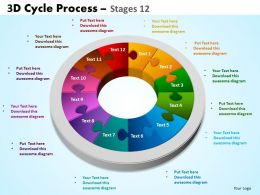 3D Cycle Process Flowchart Stages 12 Style 3